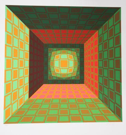 Serigrafia Vasarely - Green and Orange Composition
