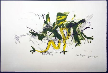 Litografia Rebeyrolle - GRENOUILLES. Lithographie signéeet dédicacée (1970).