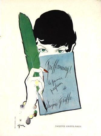 Litografia Gruau - Griffonage  Parfum De Jacques  Griffe