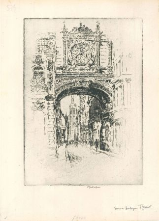 Incisione Pennell - Grosse horloge, Rouen