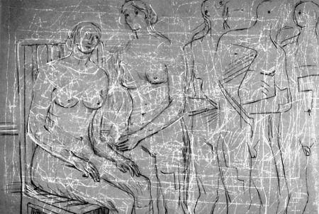 Litografia Moore - Group of figures