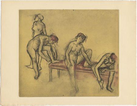 Acquaforte E Acquatinta Degas - Groupe de danseuses (étude du nus et mouvements. 1897)