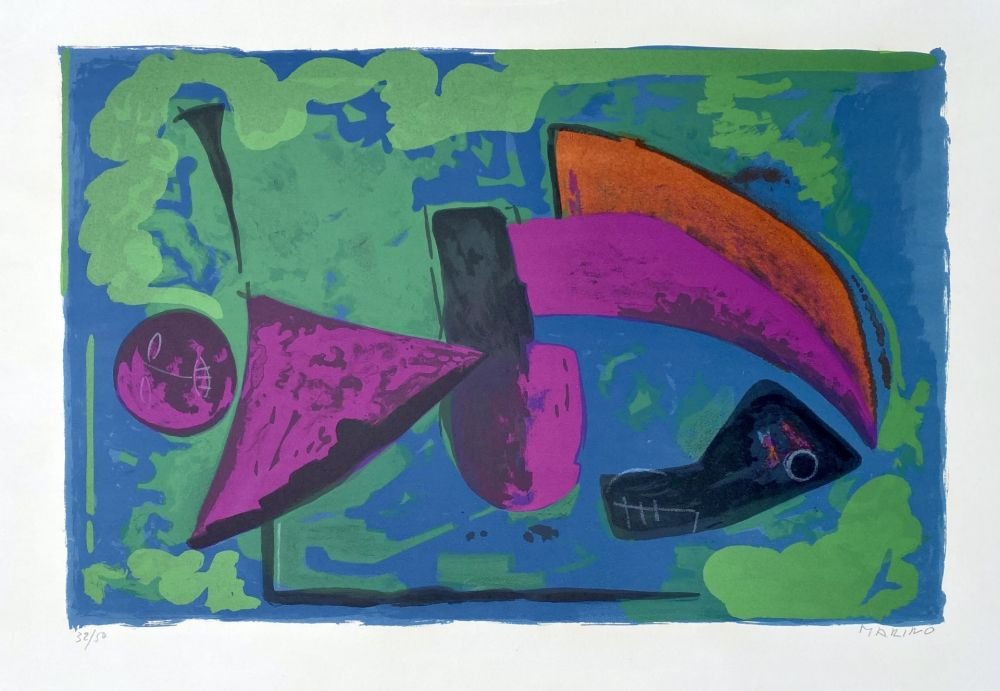 Litografia Marini - Guerriero, 1968