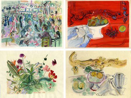 Libro Illustrato Dufy - Héron de Villefosse : EAUX DE VIE (12 pochoirs de Raoul Dufy) 1952