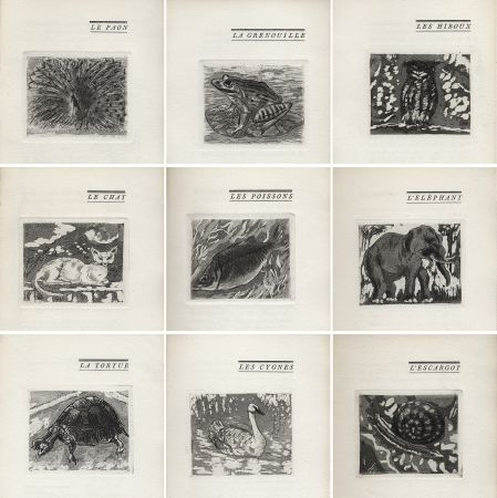Libro Illustrato Foujita - H. Chaumet : BÊTES & Cie. 25 eaux-fortes de Foujita (1927).