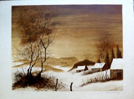 Litografia Charoy - Hameau en Hiver