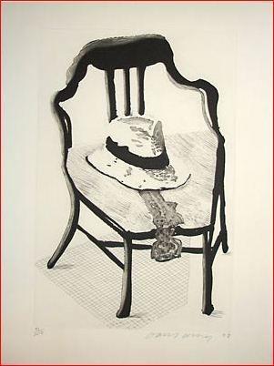 Acquaforte E Acquatinta Hockney - Hat on Chair