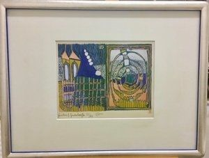 Litografia Hundertwasser - Haus und Spirale im Regen