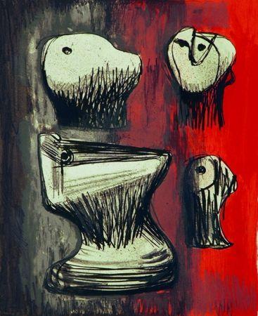 Litografia Moore - Heads ideas for sculpture