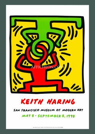 Litografia Haring - 'Headstand' 1998 Plate Signed Original Pop Art Poster