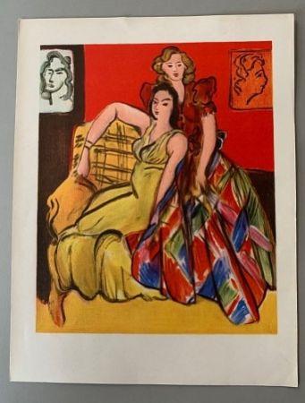 Litografia Matisse - Henri Matisse – Deux jeunes filles, robe jaune, robe ecossaise