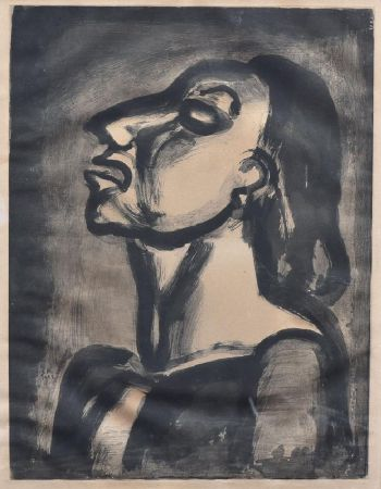 Acquatinta Rouault - His Lawyer, In Hollow Phrases, Proclaims His Total Indifference