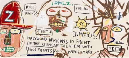 Serigrafia Basquiat - Hollywood Africans in front of the Chinese Theater with Footprints of Movie Stars