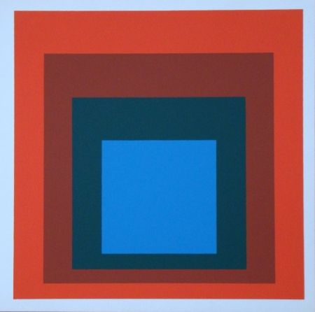 Serigrafia Albers - Homage to the Square - blue+darkgreen with 2 reds, 1955