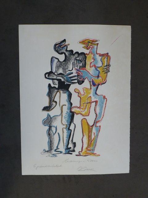 Litografia Zadkine - Hommage à Rodin