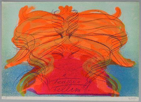 Litografia Messagier - Hommage a Fellini