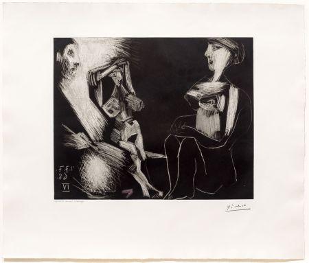 Acquatinta Picasso - Homme avec Deux Femmes Nues