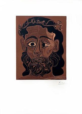 Linoincisione Picasso - Homme barbu couronné de vignes