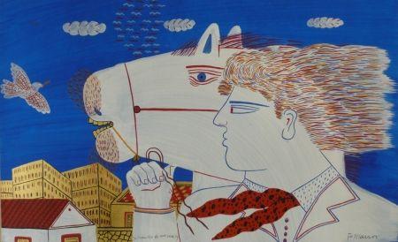 Litografia Fassianos - Homme et cheval