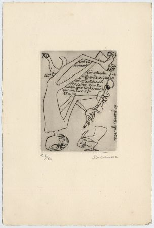 Acquaforte Prinner - Homme jouant du pipeau (1938)