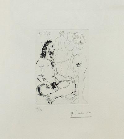 Incisione Picasso - HOMME NU ASSIS EN TAILLEUR (BLOCH 1600)