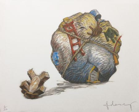 Serigrafia Oldenburg - HOUSEBALL WITH FALLEN TOY BEAR