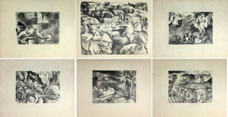 Litografia Lhote - HUIT LITHOGRAPHIES POUR L'OR DE BLAISE CENDRARS (1938).