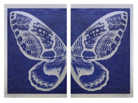Serigrafia Robierb - Hybrid Silver Butterfly l on Blue