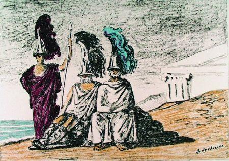 Litografia De Chirico - I guerrieri di ritorno da Troia