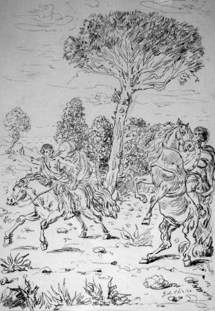 Litografia De Chirico - I monomachi