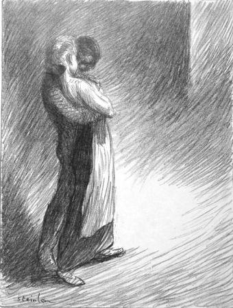 Litografia Steinlen - Il bacio