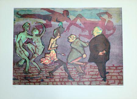 Linoincisione Maccari - Il ballo