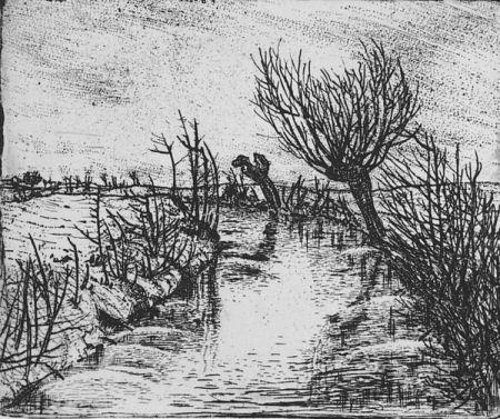 Acquaforte Bozzetti - Il canale d'inverno