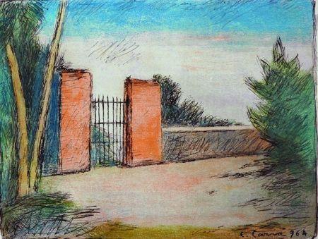 Litografia Carra - Il cancello