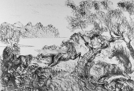 Litografia Sassu - Il cavaliere con l'elmo