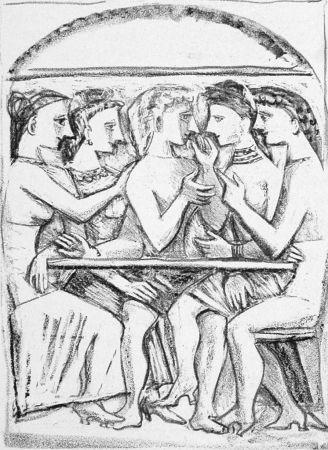 Litografia Campigli - Il pasto