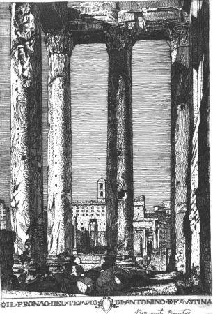 Acquaforte Disertori - Il pronao del tempio di Antonino e Faustina