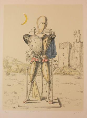 Litografia De Chirico - Il trovatore con la luna