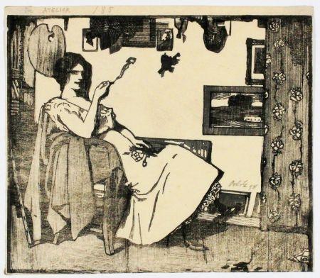 Incisione Su Legno Orlik - Im Atelier (In The Studio)