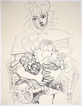 Litografia Picasso - Ines Et Son Enfant
