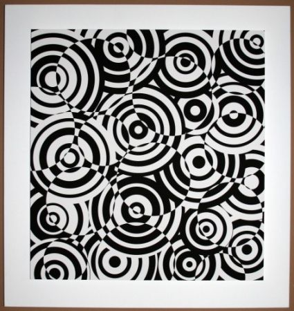 Incisione Su Legno Asis - Interferences cercles noir et blanc