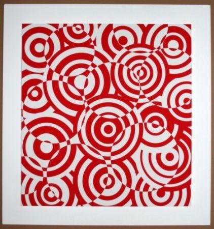 Incisione Su Legno Asis - Interferences cercles rouge et blanc