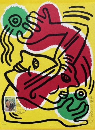 Litografia Haring - : International Volunteer Day 1988 - RARE VARIENT