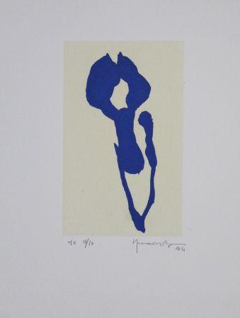 Acquatinta Hernandez Pijuan - Iris Blau Ix / Blue Iris Ix