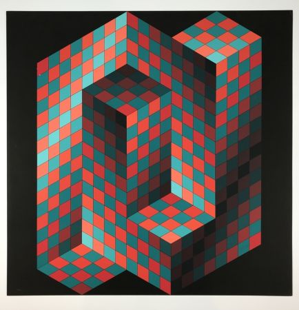 Litografia Vasarely - Izzo-Rouge-Vert