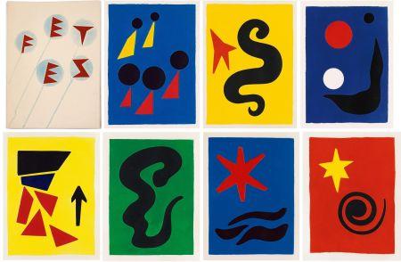 Libro Illustrato Calder - J. Prévert : FÊTES. 7 aquatintes originales de Calder (1971)