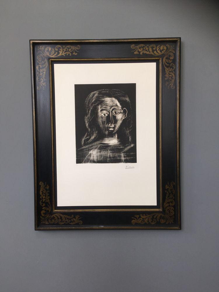 Linoincisione Picasso -  Jacqueline aux chevaux flous, en buste