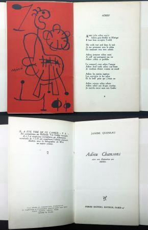Libro Illustrato Miró - Janine Queneau : ADIEU CHANSONS. Avec une illustration par Miro (1951).