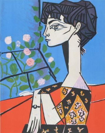 Litografia Picasso - Jaqueline avec Fleurs
