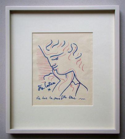 Litografia Cocteau - Je suis la jeune fille bleue